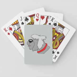Sheep dog playing cards
