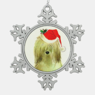 Sheep Dog Santa with Red  Hat Snowflake Pewter Christmas Ornament