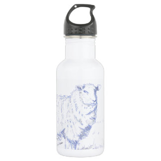 sheep drawing stainless steel water bottle