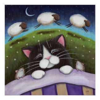 Sheep Dreams Fantasy Cat Art Print
