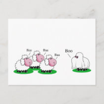 """Sheep dressed up as a Halloween ghost going """"Boo"""", Postcard"""
