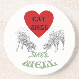 "Sheep ""Eat Well to Sleep Well"" Sandstone Coaster"