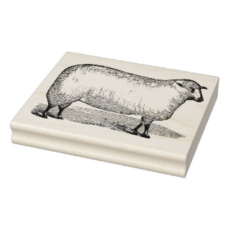 Sheep Facing Right Vintage Rubber Art Stamp