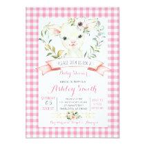 sheep farm baby shower invitation pink girl