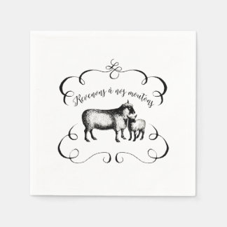 Sheep Farm Funny French Expression Vintage Style Napkin