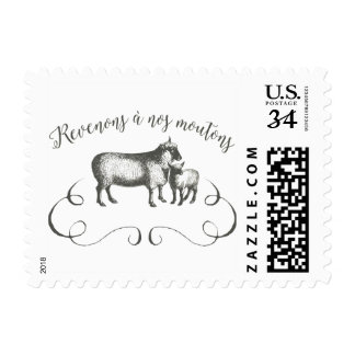 Sheep Farm Funny French Expression Vintage Style Postage Stamp