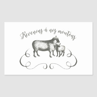 Sheep Farm Funny French Expression Vintage Style Rectangular Sticker