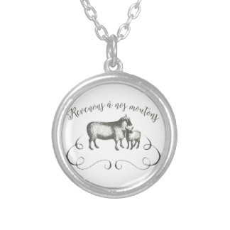 Sheep Farm Funny French Expression Vintage Style Round Pendant Necklace