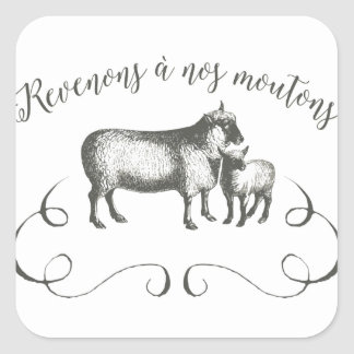 Sheep Farm Funny French Expression Vintage Style Square Sticker