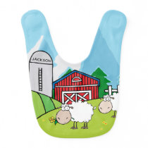 Sheep Farm With Baby's Name Monogram Baby Bib