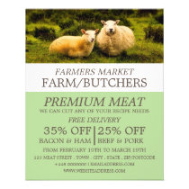 Sheep, Farmer & Butcher Advertising Flyer