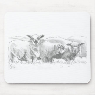 Sheep Flock Drawing Mouse Pad