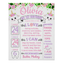Sheep Floral Flowers Birthday Party board Poster