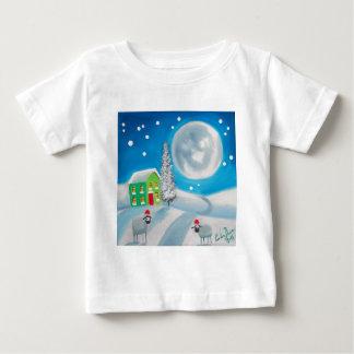 sheep folk painting full moon winter baby T-Shirt