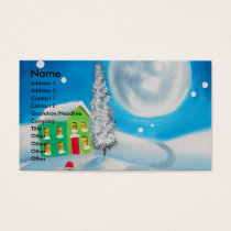 sheep folk painting full moon winter business card