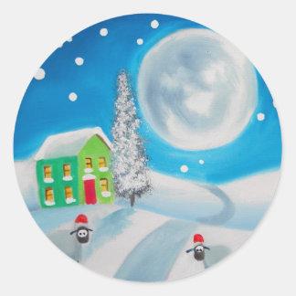 sheep folk painting full moon winter classic round sticker