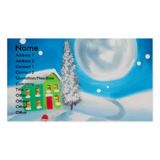 sheep folk painting full moon winter Double-Sided standard business cards (Pack of 100)