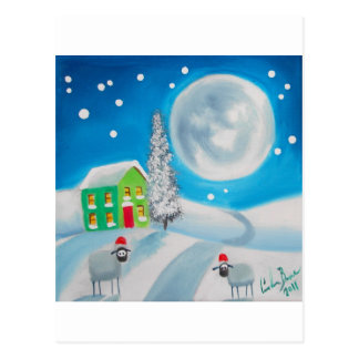 sheep folk painting full moon winter postcard