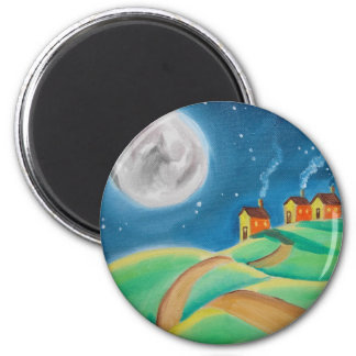 SHEEP FULL MOON FOLK ART MAGNET