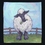 """Sheep Gifts &amp; Accessories Bandana<br><div class=""""desc"""">Animal Parade Cute Sheep Gifts and Accessories brought to you by Animal Parade feature our original art of a cute black and white sheep standing in a grassy field with brown fence and a textured blue sky painted by our talented children's illustrator, Traci Van Wagoner. On many of our whimsical...</div>"""