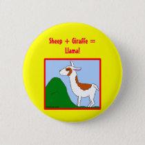 Sheep   Giraffe = Llama! Pinback Button