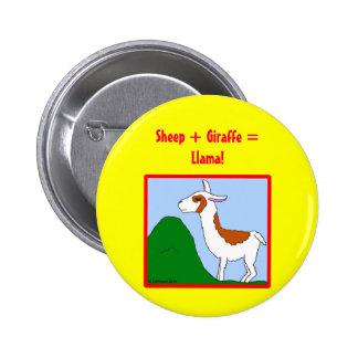 Sheep + Giraffe = Llama! Pinback Button