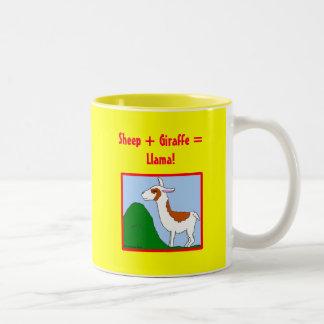 Sheep + Giraffe = Llama! Two-Tone Coffee Mug