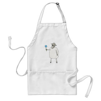 Sheep Giving a Flower. Apron