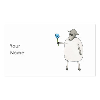 Sheep Giving a Flower. Business Card