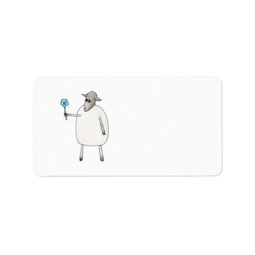 Sheep Giving a Flower. Personalized Address Label