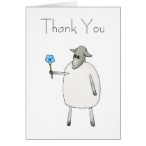 Sheep Giving a Flower, Thank You. Card