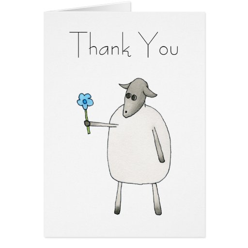 Sheep Giving a Flower, Thank You. Greeting Card