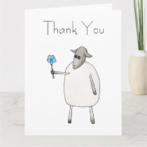 Sheep Giving a Flower, Thank You. Thank You Card