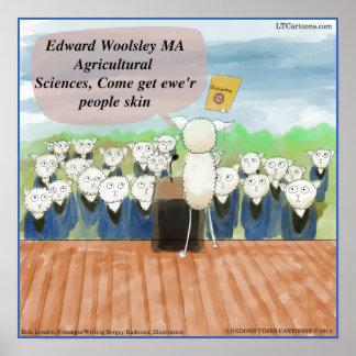 Sheep Graduation Day Funny Poster Print