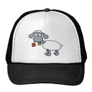 Sheep Gray White Lamb Red Flower Mesh Hat