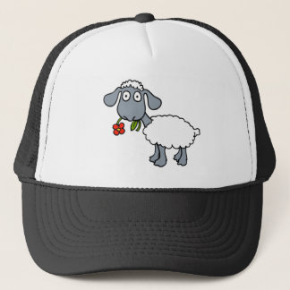 Sheep Gray White Lamb Red Flower Trucker Hat