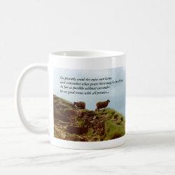 Sheep graze on a Mountain Desiderata Cup mug