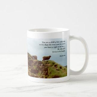 Sheep graze on a Mountain Desiderata Cup Coffee Mugs