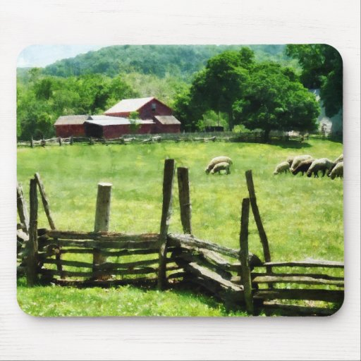 Sheep Grazing in Pasture Mouse Pad