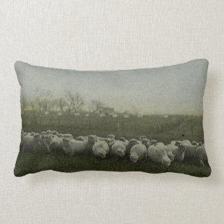 sheep grazing photo 1918 throw pillow