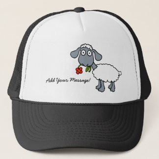 Sheep Grey White Lamb Red Flower Your Message Trucker Hat