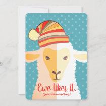 Sheep hat knitting crochet crafts Christmas card