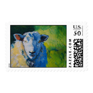 sheep head painting bright green postage