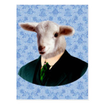 Sheep Head with Human Body Postcard