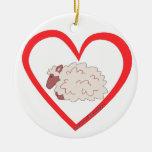 Sheep Heart Christmas Tree Ornament