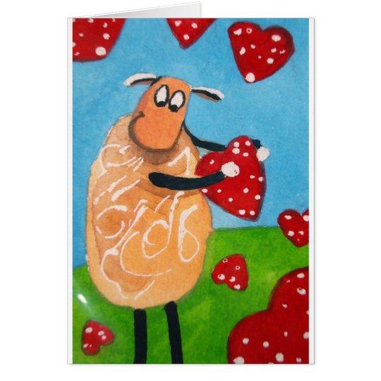SHEEP HEARTS LOVE CARD