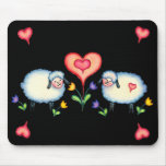 SHEEP & HEARTS on BLACK by SHARON SHARPE Mouse Mat