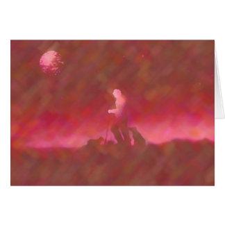 """Sheep Herder Maroon""~Original Abstract Notecard Card"