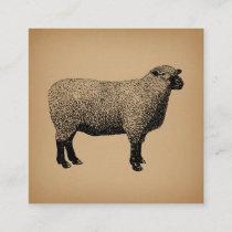 Sheep Illustration Vintage Art Enclosure Card