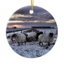 Sheep - in a Dutch Winter Sunset Ceramic Ornament